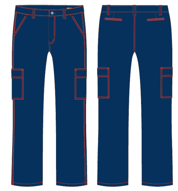 Pantalon Cargo con costuras en color
